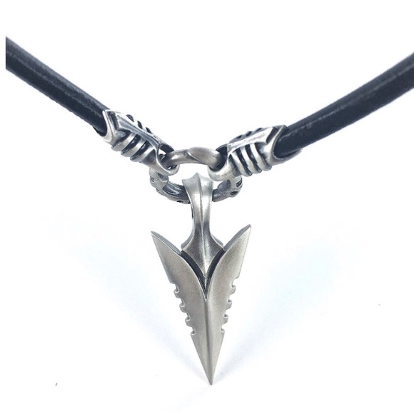 Real Leather Necklace With Arrowhead Bico Pendant Boutique